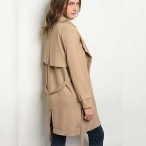 Jackets & Blazers - Lightweight Tan Jacket with belt